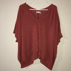 ANTHROPOLOGIE Burnt Orange Short Sleeve Sweater S
